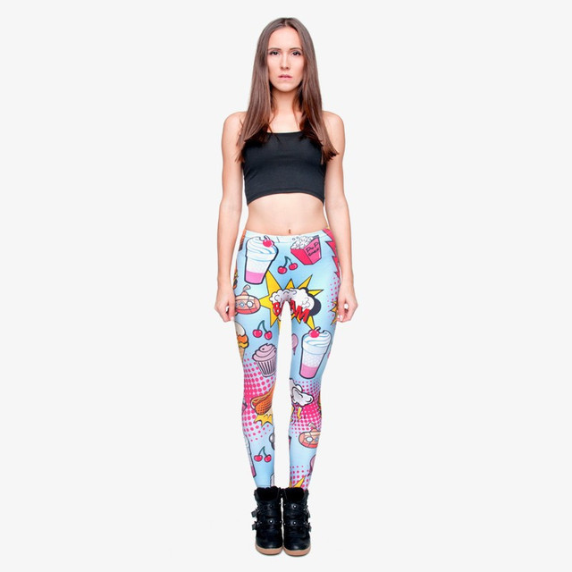 2017 Funny Basic Casual Leggin Female Women 3D Fast Food Comix Printed Adventure Time  Leggings lga29512