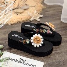 Модные женские босоножки на каблуке с открытым носком Цветочные сандалии для женщин летние сандалии