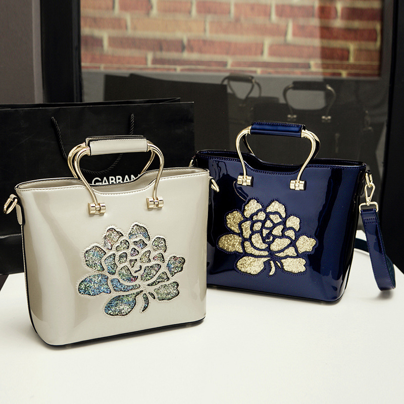 patent leather Flowers Embroidery glossy surface women luxury style Evening Bag handbag Ladies Tote simple shoulder Bag luxury chinese style women handbag embroidery ethnic summer fashion handmade flowers ladies tote shoulder bags cross body bags