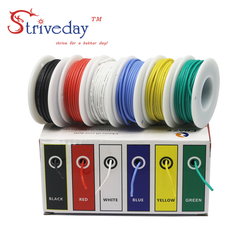18AWG 30m Flexible Silicone Rubber Cable Wire stranded wires Tinned Copper line Kit mix 6 Colors Electrical Wire DIY| | |  - title=