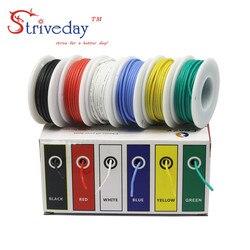 30 meters/box 18AWG 5 metros cada color de silicona Flexible de alambre de cobre estañado Kit de Línea 6 colores DIY