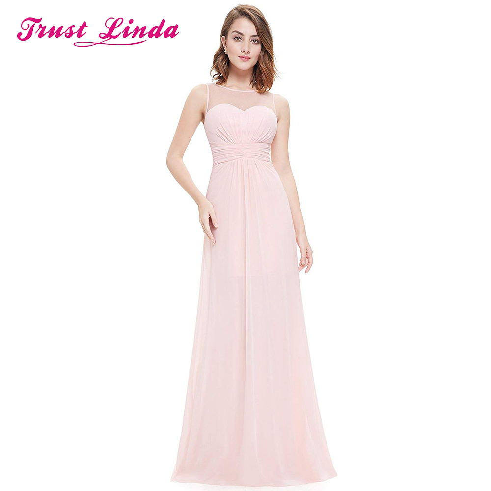 Fashion See Through Back Bridesmaid Sleeveless Prom Gown Sleeveless Floor Length Dress For Wedding Party