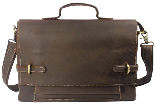 Винтидж луд кон естествена кожена чанта за мъже кожени чанти през рамо мъже Crossbody чанта тотални куфарче бизнес прашка