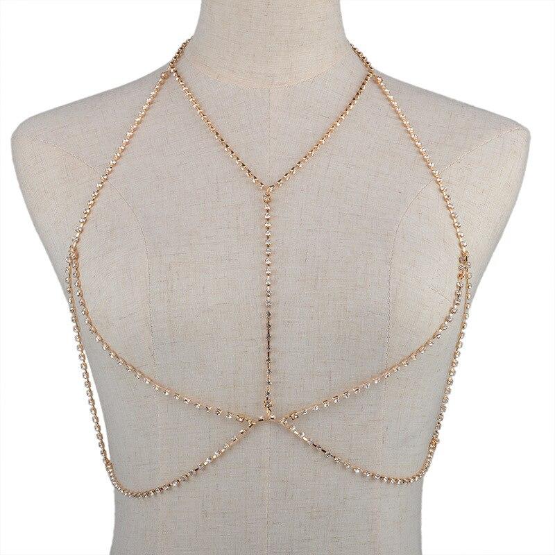 crystal necklace women sexy bikini body chain harness breast bra maxi collier bohemian jewelry