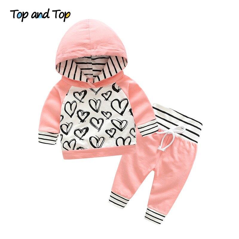 Top e Top Moda Carino Neonato Baby Girl Vestiti Felpa Con Cappuccio Pantaloni A Righe 2 pz Outfit Cotone Bambino Tuta Set