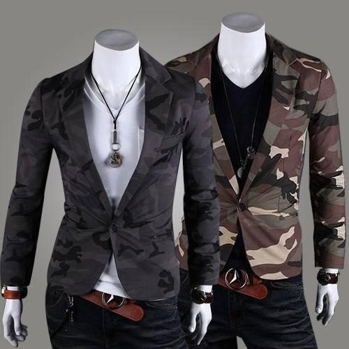 2017 primavera outerwear moda Camuflagem militar 100% algodão fino blazer um botão terno fino
