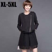 2015 Spring autumn short jacket women epaulet oblique zipper outwear Plus Size coat casual blouse top long sleeve outfit XXXXXL