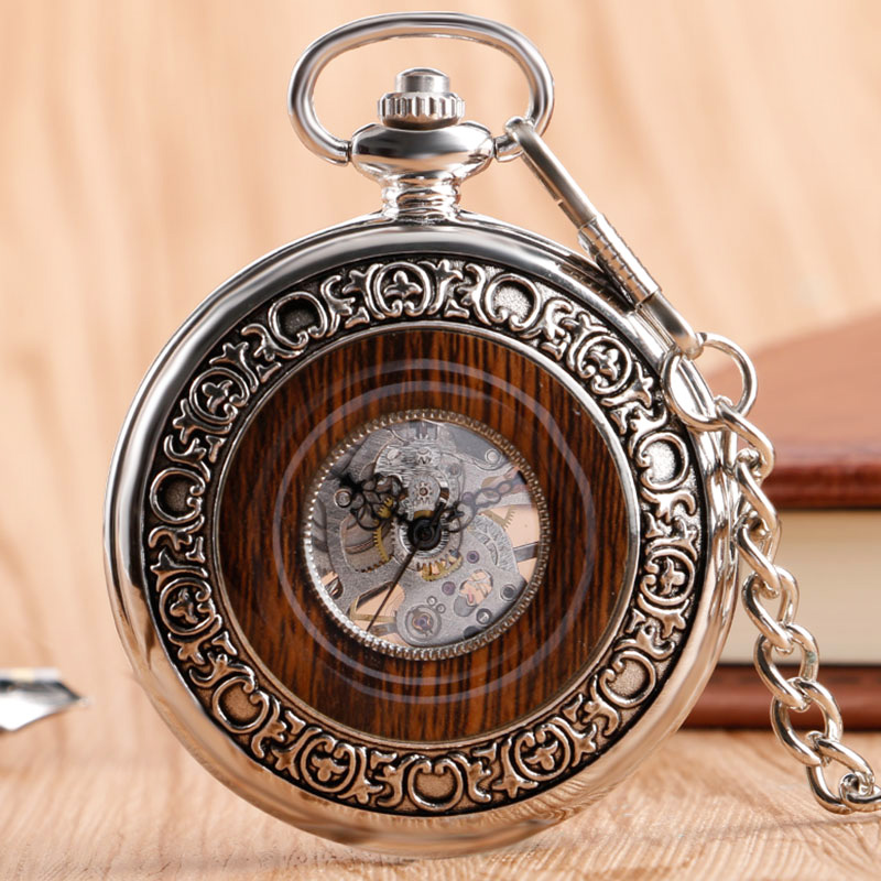 Classic Stainless Steel Mechanical Pocket Watch Imitation Wood Silver Hand Winding Skeleton Vintage Fashion Fob Chain Nurse Gift