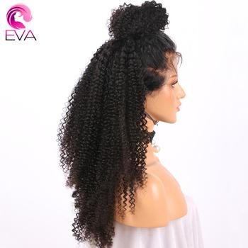 Eva włosów 360 czołowa koronki peruki Pre oskubane z dzieckiem włosy Glueless koronki przodu włosów ludzkich peruk głębokie kręcone brazylijski remy włosy tanie i dobre opinie Średnia wielkość Brazylijski włosy Wszystkie kolory Średni brąz Eva Hair Swiss koronki