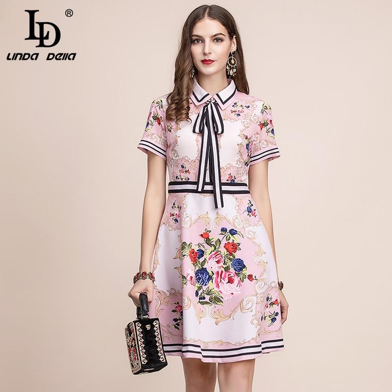 LD LINDA DELLA 2019 Fashion Runway letni strój kobiet sukienka z krótkim rękawem łuk kwiat wydruku na co dzień elegancka linia sukienka vestidos w Suknie od Odzież damska na  Grupa 1