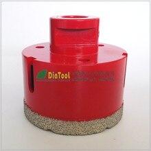 Free-доставки Dia65mm красный цвет вакуум паяный алмазные коронки с M14 соединения, 10 мм высота сегмента буровые коронки