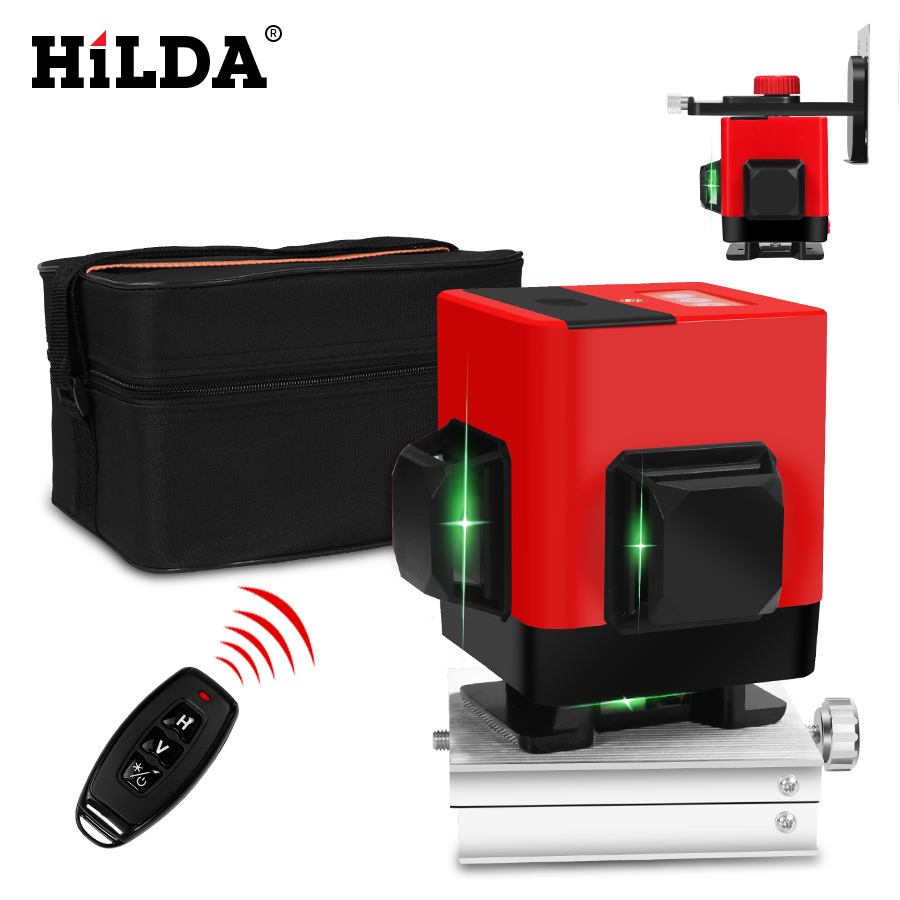 HILDA Laser Level 12 lines green line 3D Self Leveling 360 Horizontal And Vertical Super Powerful