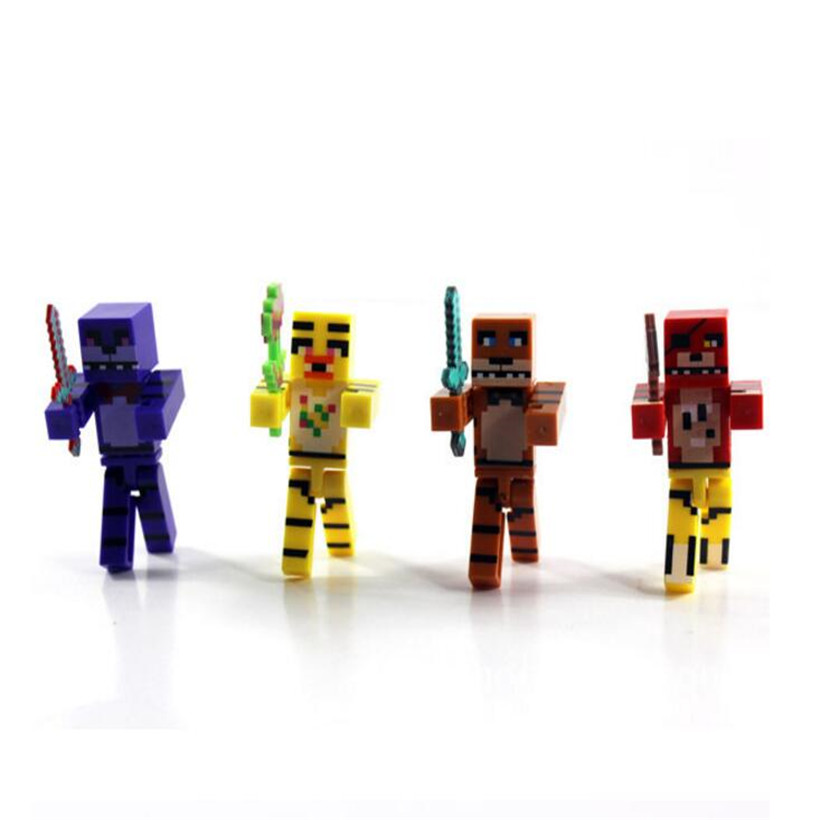 2017 4pcs/set Minecraft Five Nights At Freddy's 4 FNAF Foxy Chica Bonnie Freddy 7 cm PVC Anime Action Figure Kids Toys Gifts