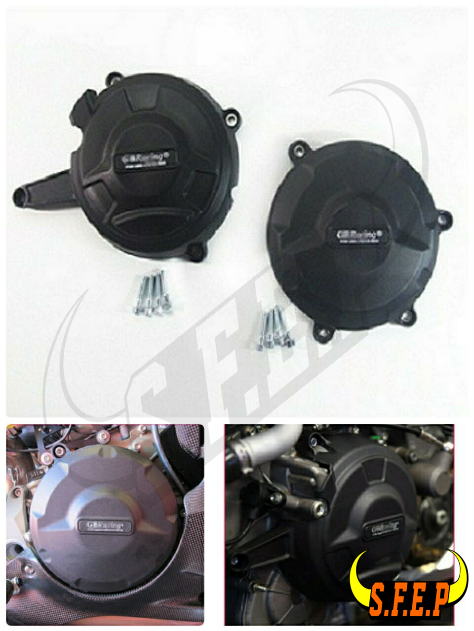 Motorcycle Engine Case Guard Protector Cover GB Racing For Ducati 1199 Panigale 2012-2014 / 1299 Panigale 2016 Black