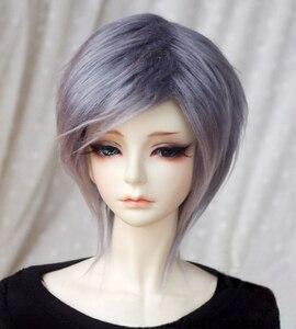 Peluca de pelo de muñeca BJD para 1/3 1/4 1/6 1/8 1/12 BJD, pelucas de pelo liso de longitud media gris ahumado