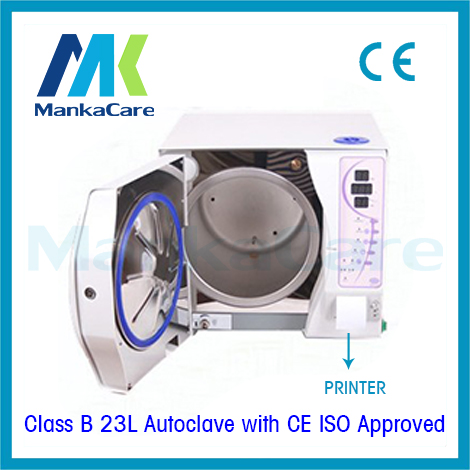 23 Liters Dental Autoclave with Printer 3 times Vacuum high temperature medical sterilizer Disinfection Cabinet Big Discount portable dental autoclave sterilizer with replaceable tray high temperature sterilizer hot air disinfection with wooden holder