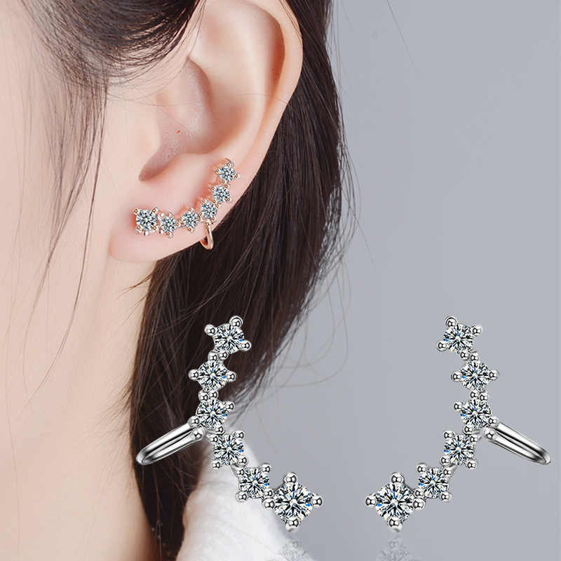 New Fashion Zircon Silver Rose Gold Clip On Earrings For Women Ear Cuff Jewelry Pendientes Mujer Moda 2018