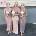 Mermaid Long sleeve bridesmaid dresses Muslim elegant Wedding guest dresses vestido madrinha Lace Prom dresses Z489