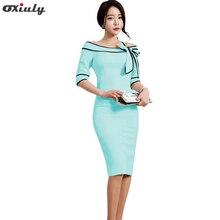 Oxiuly Women Pencil Dresses 2017 Autumn Slash Neck Bow Work Dress Office Wear Light Blue Dresses