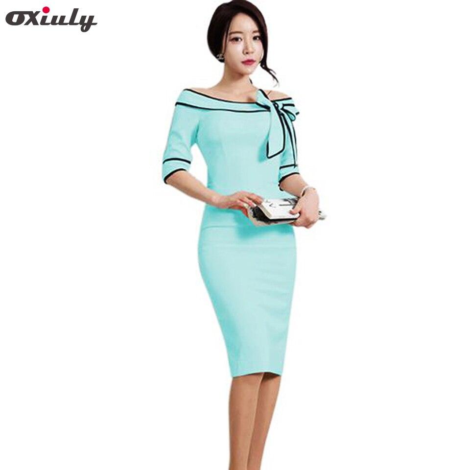 Oxiuly Ženy Tužka Šaty 2017 Podzim Slash Neck Bow Pracovní šaty Kancelářské Oblečení Světle Modré Šaty