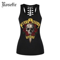 Rosetic Gothic Tank Tops Letter Skull Floral Rose Print Black Women Summer Fashion Sexy Club Street