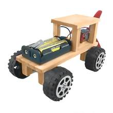Wooden DIY Electric Wind Power Car Model Children Handmade Assembly Toy Educational Toy kids toys(China)