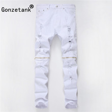 GONZETANK 2017 Leisure Solid color Jeans for Men Classical and Straight  Boyfriend  Narrow for  zipper Middle waisted Size 29~42