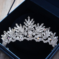 KMVEXO 2017 New Baroque Rhinestone Crystal Beaded Headband Tiara Bride Crown Luxury Wedding Korean Hair Accessories