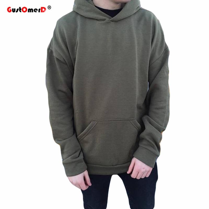 GustOmerD Fashion Brand Hoodies Men Loose Style Solid Kanye West Mens Hoodies High Quality Sweatshirt Men Hip Hop Hoody Men