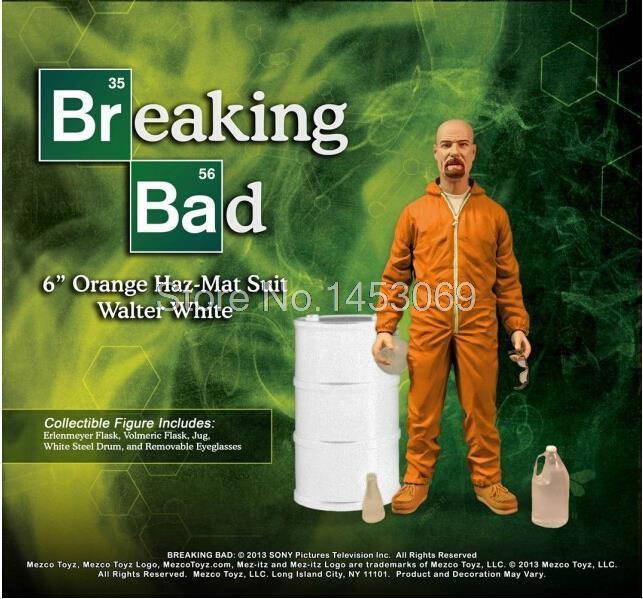 """ФОТО 6.3"""" 15cm mezco breaking bad heisenberg walter white in orange hazmat suit collectible figure toy wf081"""