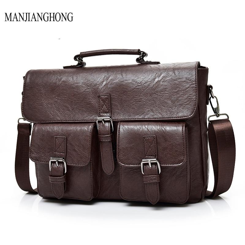 2018 NEW Handbags PU Leather Man Bag Vintage Men Solid Briefcase Business Shoulder Messenger bags Men's Casual Tote Bag все цены