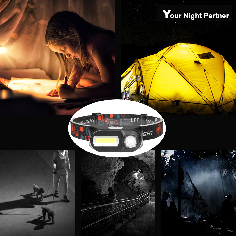 Купить с кэшбэком Super bright LED Headlamp COB work light 7 lighting modes Powered by 18650 battery Suitable for fishing, camping, etc.