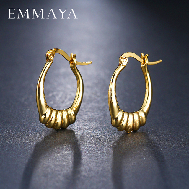 Emmaya Brand New Design Charm Simple Round Shape Earrings Women Gold Cute Earring