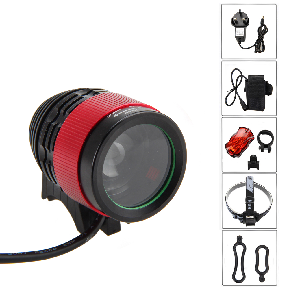 Waterproof Zoomable Bike Light 2500LM XM-L T6 LED Lamp 4 Modes Front Bicycle Headlamp Torch  with 6400mAh Battery Set 3800 lumens cree xm l t6 5 modes led tactical flashlight torch waterproof lamp torch hunting flash light lantern for camping z93
