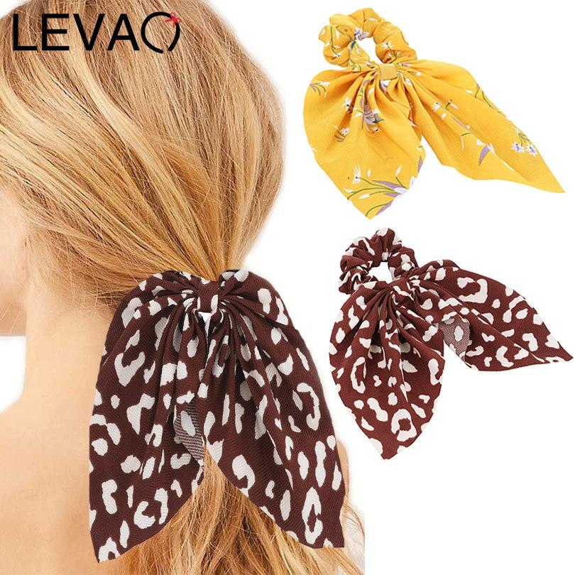 LEVAO Floral Print Scrunchie Women Dot Hair Scarf Elastic Bohemian Hairband Bow Hair Rubber Ropes Girls Hair Ties Accessories