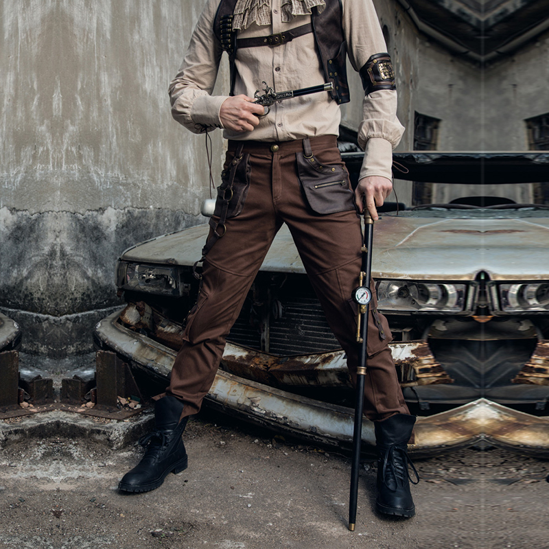 Steampunk Retro Fashion Cotton Multi-Pockets Work Loose Pants Military Army Brown Mens Cargo Pants