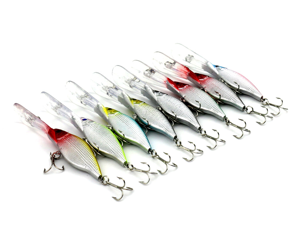 80PCS Fishing Lure Deep Swimming Crankbait 9 2cm11g Hard Bait 8 Colors Available Tight Wobble Slow
