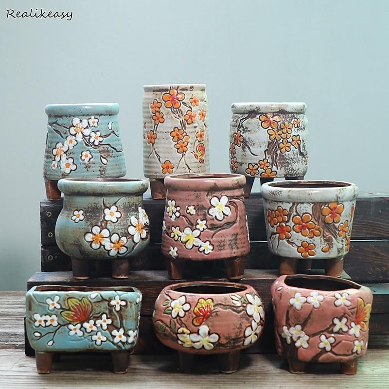 Succulent Flowerpot Breathable Hand-Painted Simple Ceramic With Feet Flower Pots Home Garden Office Decoration Planter Pots ZM10