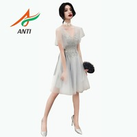 ANTI Weekend Short Tulle Homecoming Dresses Silver Illusion Formal Party Gowns Women mezuniyet elbiseleri special occasion LM222