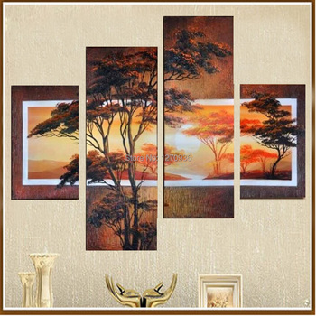 Wholesale Lowest Price Best Quality Skillful Artist Hand Painted African Tree Oil Painting on Canvas Abstract Landscape Painting