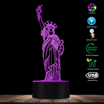 Modern New York City Statue Of Liberty 3D Optical illusion Table Night Light NYC Themed LED Desk Lamp American Values Mood Light