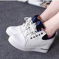 Altos zapatos casuales zapatos de mujer de moda de corea aumentó gruesos zapatos de fondo plano zapatos mujer de labios de impresión