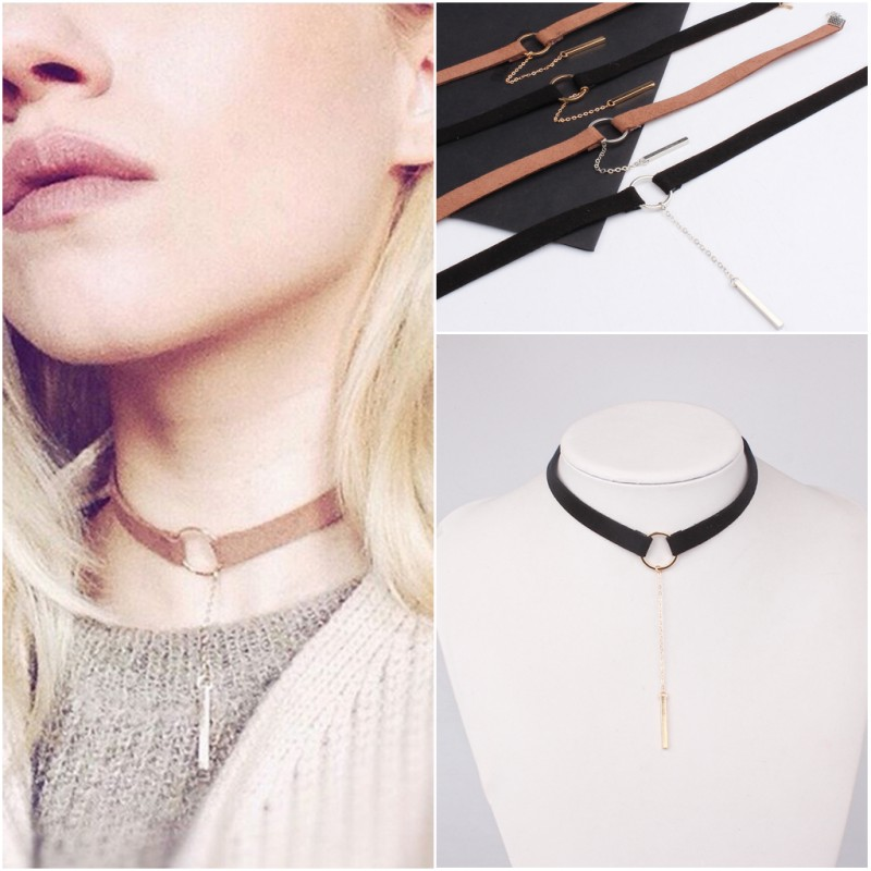 brown black choker necklace women gold silver plated velvet choker chocker bar stick pendant. Black Bedroom Furniture Sets. Home Design Ideas