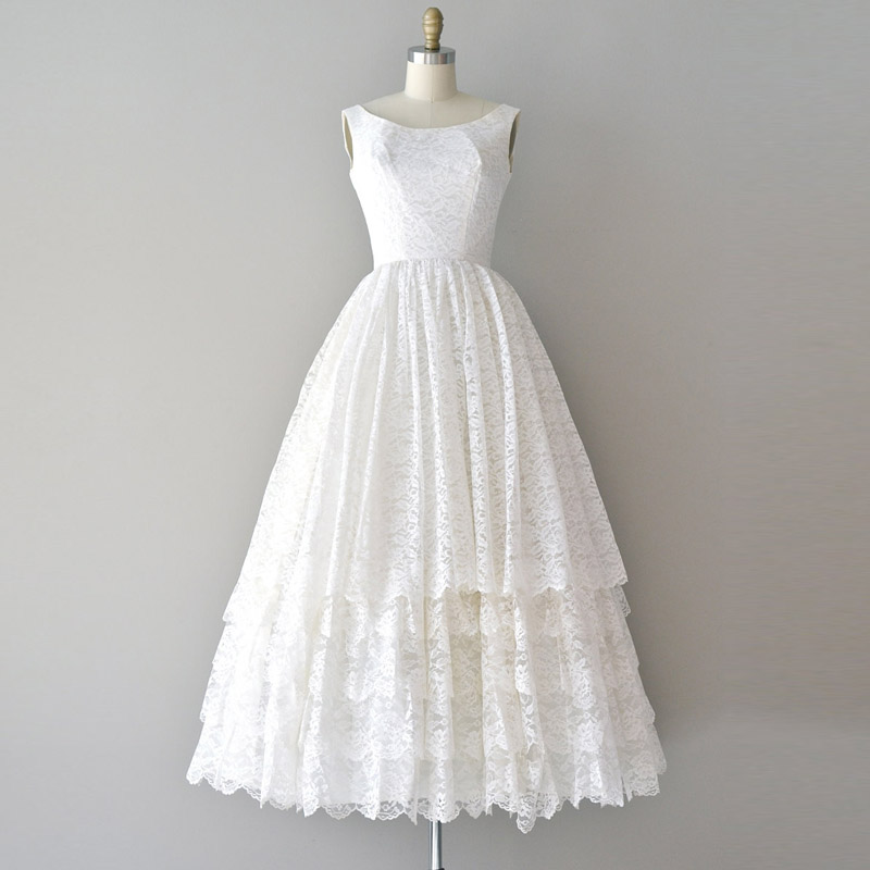 Vintage Tea Length Lace Ivory Beach Wedding Dresses 50s