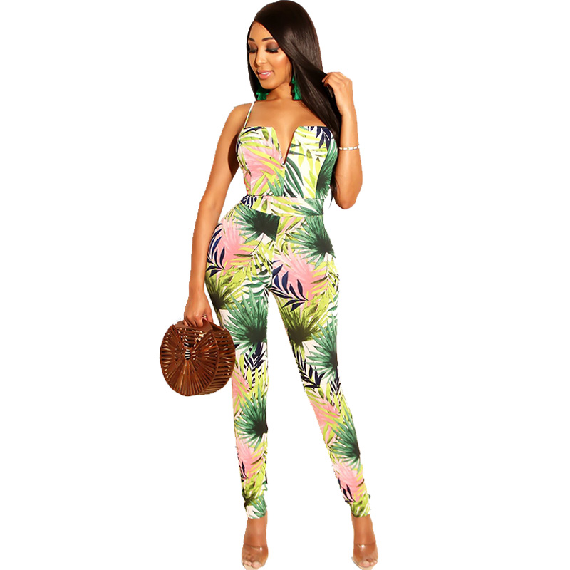 Sexy Spaghetti Strap Bodycon Rompers Womens Jumpsuits 2019 Summer V-neck Leaf Print Sleeveless Backless Party Beach Overalls
