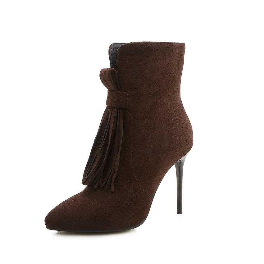 Bottes Femmes Pointu Cheville Qutaa Taille Noir Hiver 2019 Plate forme D'hiver jaune Orteil Sexy Occasionnels 43 Chaussures Grande brown 34 q5vAtAf