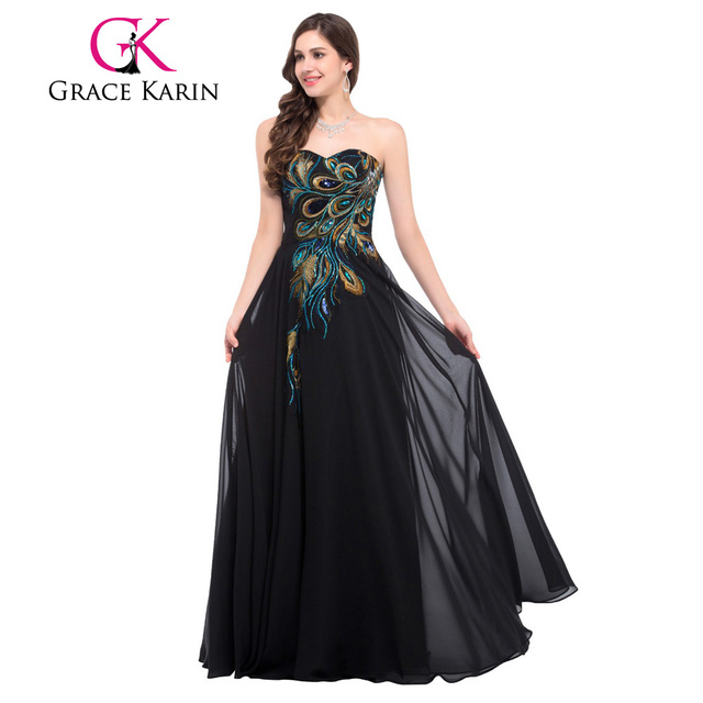 Grace Karin Strapless Peacock Evening Dress Long Chiffon Embroidery Formal Evening Gowns Robe De Soiree Wedding Prom Dress 2017