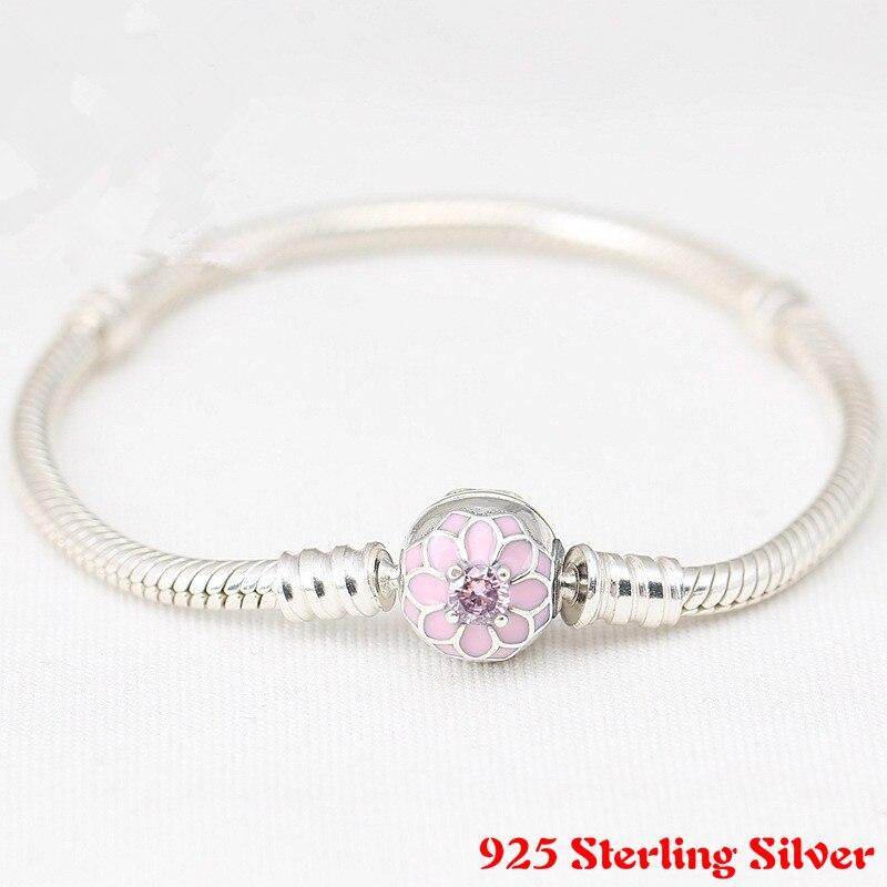 Otantik 925 Gümüş BLOOMING DAHLIA KLIP Charms Fit Pandora Bilezik Takı Kadınlar DIY Aksesuarları