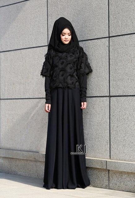 2016 Fashion Muslim Abaya Dubai Pakaian untuk Wanita Muslim Abaya Jilbab  Djellaba Musulmane Hitam Gaun Abaya 2419fbffca