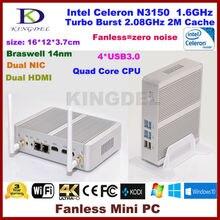 Kingdel безвентиляторный мини-ПК, тонкий компьютер, Платформа Intel NUC, HTPC, Intel Celeron N3150 braswell Процессор, 8 ГБ Оперативная память, 256 ГБ SSD 2 * HDMI, 2 * NIC, 4 * USB 3.0